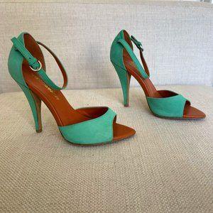 Rebecca Minkoff Ellie Green Open Toe Sandals High Heels Size 7
